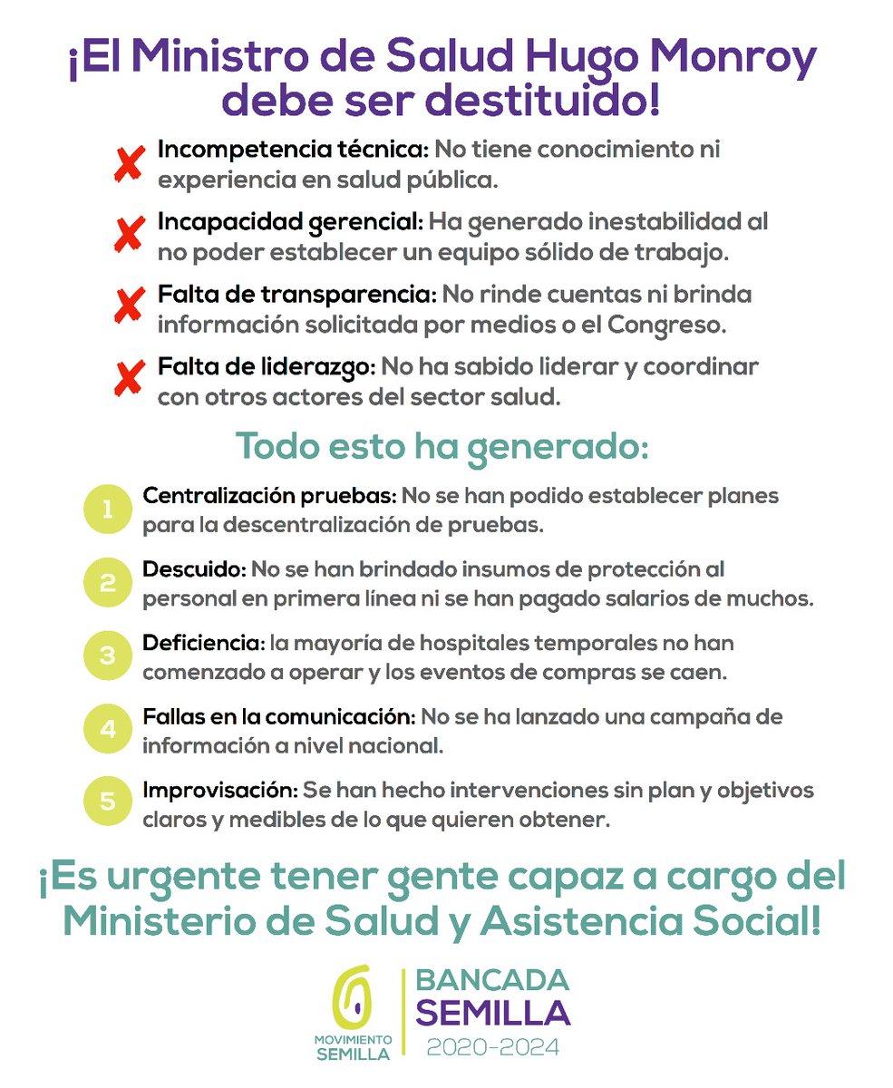 test Twitter Media - La Bancada Semilla pide destituir al Ministro de Salud, Hugo Monroy, esto es lo que señalan: https://t.co/sNjhrEY8d7