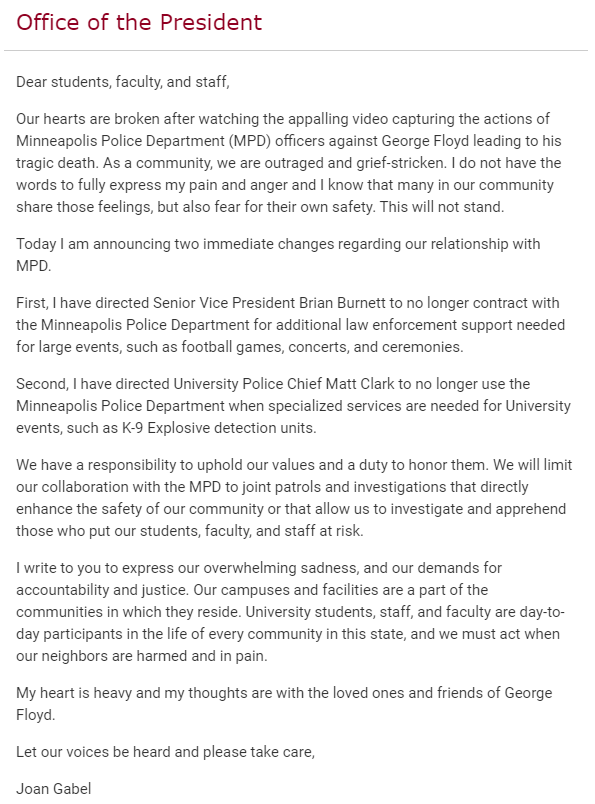 University of Minnesota just broke a bunch of ties with the Minneapolis Police Department