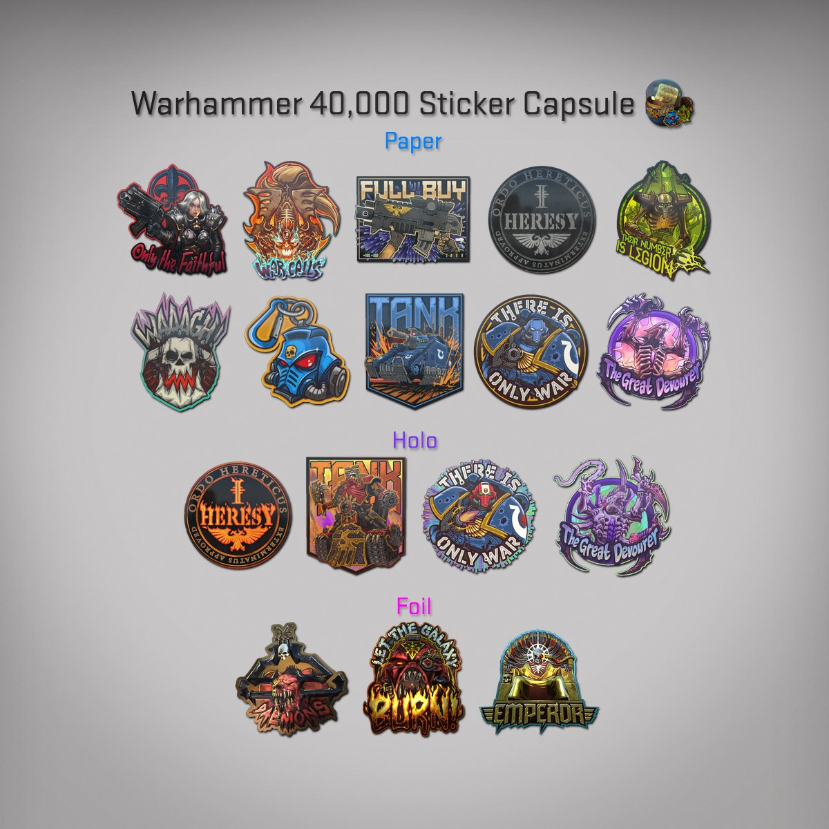Today were shipping the Warhammer (@WarComTeam) 40,000 Sticker Capsule, featuring 17 unique designs from the 40K universe! Weve also added a setting to change your main menu background and a new killed by C4 killfeed icon. More in todays Blog Post: blog.counter-strike.net/index.php/2020…