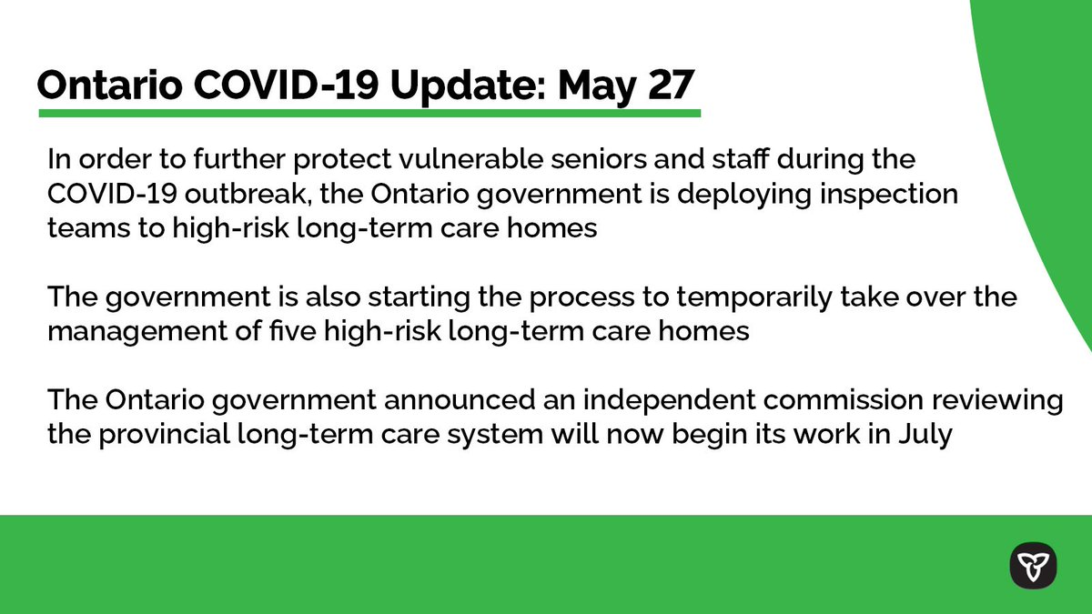 COVID-19 update for May 27, 2020. Check back daily for updates or visit http://Ontario.ca/coronaviruspic.twitter.com/XzikmKhD9l