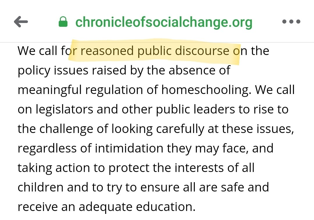 """""""We call for reasoned public discourse""""  No they don't. This literally all started because they planned a PRIVATE echo-chamber anti-homeschooling event to be held at Harvard Law School. https://t.co/OPCVac0pc7"""