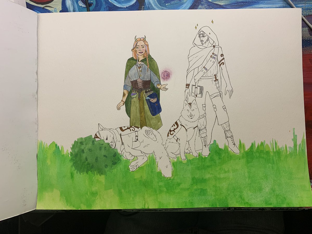 Working on this dnd character commission! Excited to be painting with gouache again pic.twitter.com/UVwJOj83oi