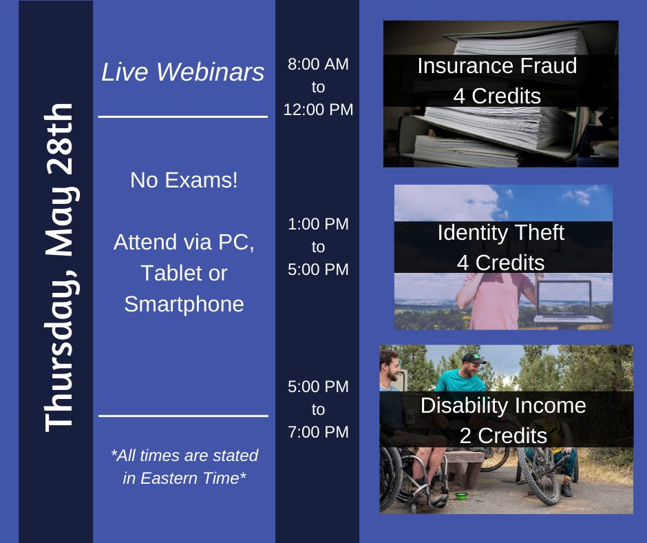 #EasyCE - #NoTravel - #NoExams! . Live Thursday: #InsuranceFraud, #IDTheft and #Disability Income . . Earn credits from your home or office. Register now at:  https://bit.ly/2M20BQ3  . . #CE #Insurance #InsuranceCEpic.twitter.com/UgIqPhOQVR