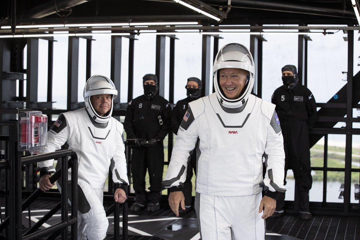 .@AstroBehnken and @Astro_Doug before Crew Dragon flight