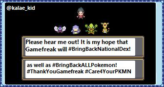 @Pokemon Please #BringBackNationalDex as well as #BringBackALLPokemon! Let us #Care4OurPKMN #BringBackFollowerPokemon and #AddRefreshToCamp #ThankYouGamefreak for bringing back 200+ mons in the expansion passes. All I ask is that you bring everyone too! Here's to Bringing them all back! https://t.co/dgRzn0pzx2