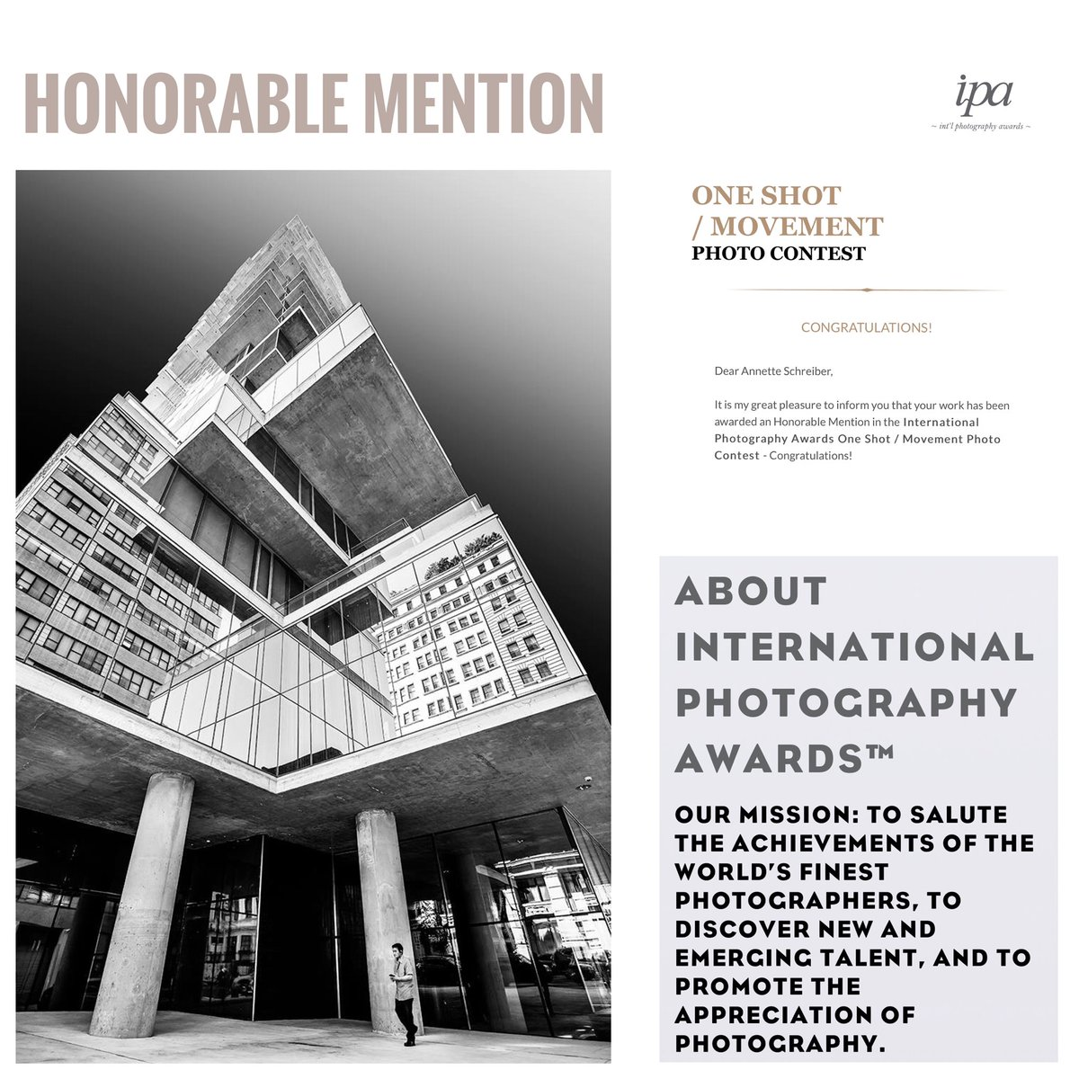 Feeling extremely honored that I got awarded an HONORABLE MENTION for the ONE SHOT MOVEMENT from IPA (International Photography Awards)! Yay!!!☺️ #honorablemention #ipa #photography