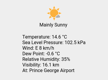 Wed 13:00: Mainly Sunny; Temp 14.6 C; Humidity 35%; Press 102.5 kPa.pic.twitter.com/BlEYBW6Y0s