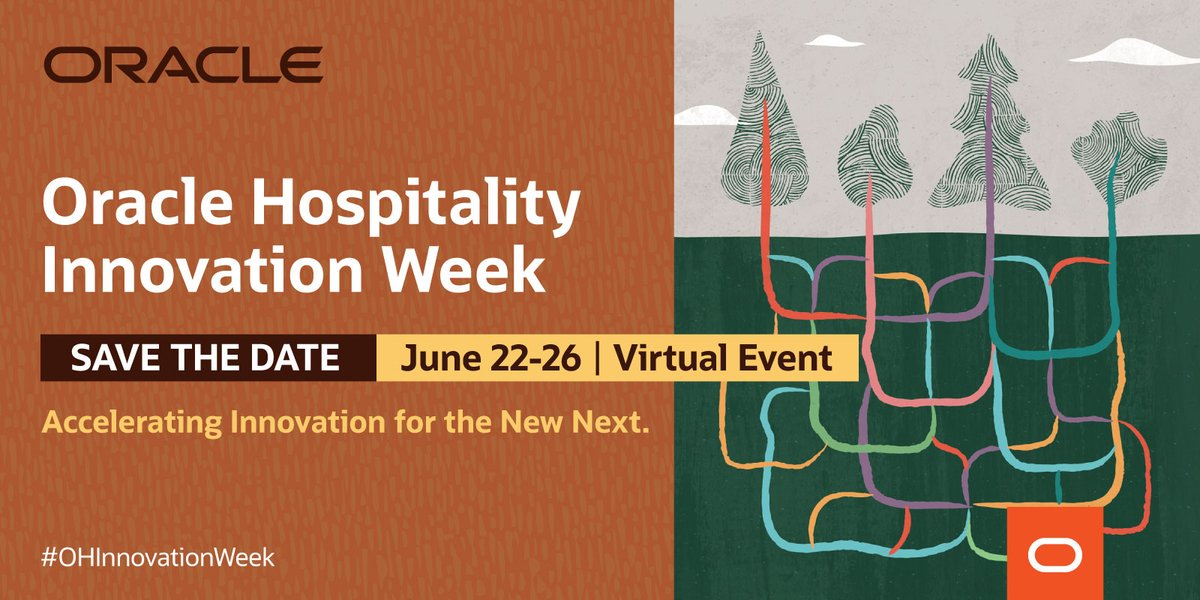 Save the date  Join us for #OracleHosp Innovation Week, a series of live webcasts highlighting new tech developments, processes, benefits, & interactive forums, designed to accelerate integrations to OPERA Cloud, OPERA 5, & Simphony: https://bit.ly/2X5AYV4 #OHInnovationWeekpic.twitter.com/73GZNiJbm4