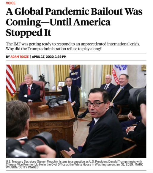 Why did US veto IMF's bread & butter Pandemic Bailout?  Classic Balance of Payments crisis: Turkey, Lebanon, Pakistan Weak Petrostates: Angola, Iraq, Ecudaor Too big to fail: Indonesia, Brazil Was it Iran & Venezuela that stuck in GOP's craw? https://foreignpolicy.com/2020/04/17/global-pandemic-bailout-imf-world-bank-meetings-america-sdrs/…pic.twitter.com/p44EYYF2oS