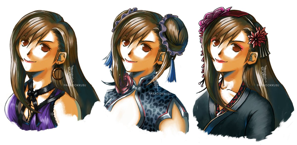 Tifa is finally done! The original FFVII portrait style with #FF7R  dresses!  Having so much fun drawing these! it's time for Aerith! <br>http://pic.twitter.com/Klt8MNEZYn