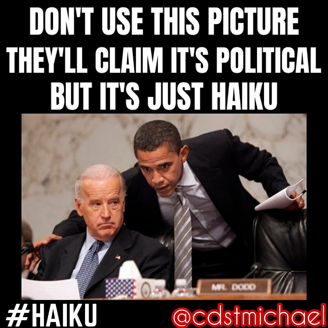 It's time for another haiku meme! Wait, that's not political... #haiku #haikudaily #dailyhaiku #poem #poetry #memehaiku #meme #politics #politicsmemes pic.twitter.com/Ogj6rO7PEp
