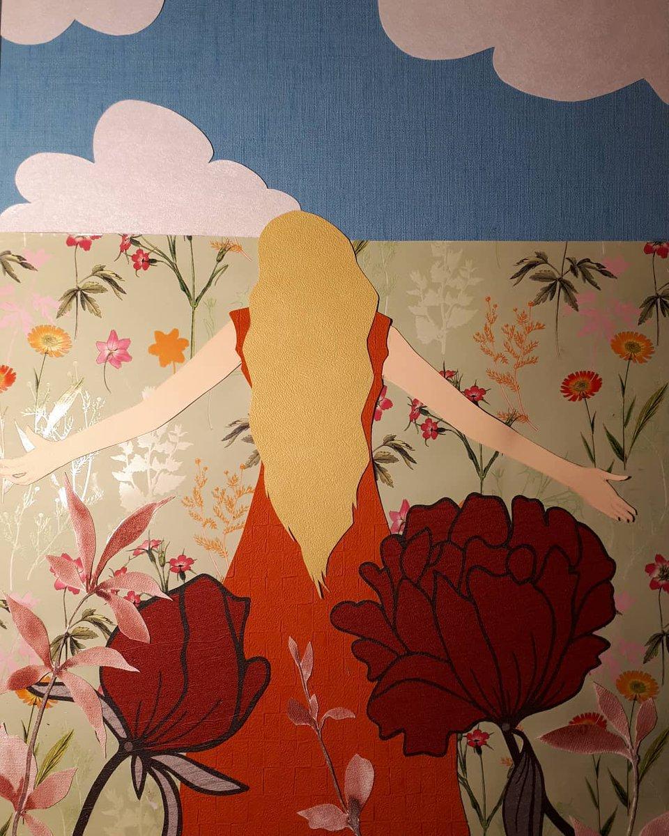 Papír kollázs, Lány a virágos mezőn Paper collage, Girl in the flowery field . . . #papir #papirkollazs #kollazs #virág #virágosmező #mező #lány #rajz #papír #szabás #ragasztás #művészet #alkotás #kreativitas #art #paperflowers #paper #collageart #girl #flowers #cuting #glue