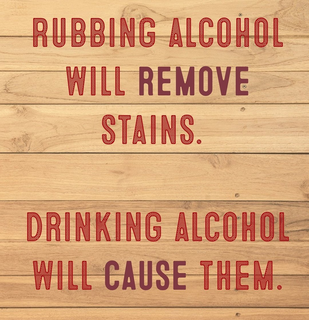 Rubbing alcohol will remove stains. Drinking alcohol will cause them. #jokes #funny #alcohol #drinks #rubbingalcohol #comedy #hehe #haha #hoho #drunk #drunkmemes #lol #bar #happyhourpic.twitter.com/OqW21q1MqM