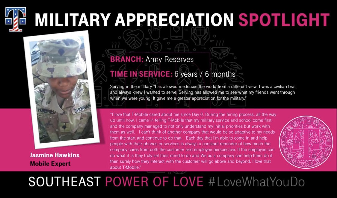 Spotlight on @JakaGermany, this #MilitaryAppreciationMonth. She appreciates the #BeYou philosophy @Tmobile. We love supporting your passion and goals, Jasmine! #SEPowerOfLove! #WeSaluteYou and thank you for your service!