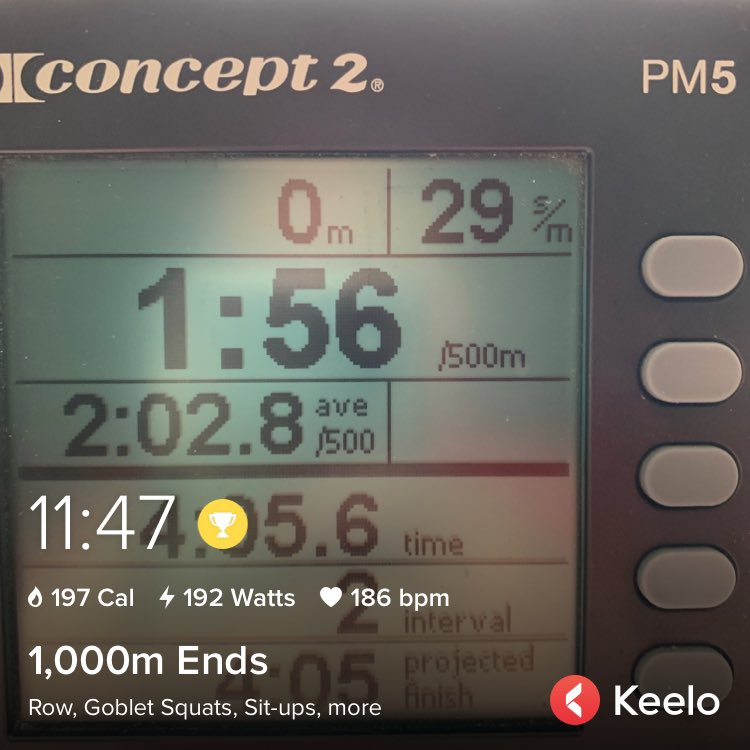 I just finished my 191st workout on Keelo.  1,000M ENDS  Row 1,000 meters 21 Goblet Squats 18 Sit-ups 15 Bench Dips 12 Overhead Kettlebell Swings Row 1,000 meters  Complete as fast as possible.  Do this on Keelo app. https://keelo.fit/JmSQpic.twitter.com/CLf7Jm42UH
