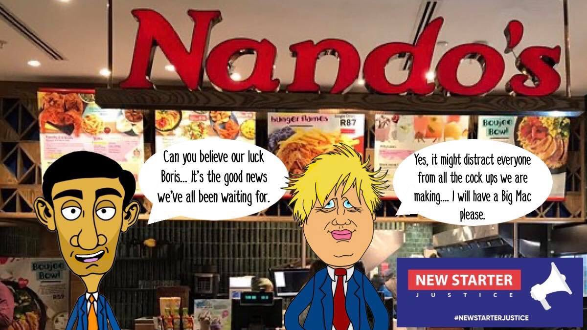 The great new cartoon from #NewStarterJustice illustrator @_Lonewolf69_ we've all been waiting for - @RishiSunak and @BorisJohnson seem to think things are getting sorted, but when will they realise that at least 1.5m people have been left out and are nowhere near sorted? #nandos https://t.co/4z374yhNtY