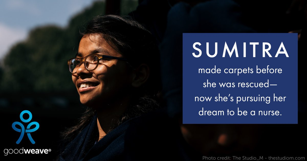 Sumitra's role model is Florence Nightingale. This #WorldDayAgainstChildLabor, be inspired by her story which provides us all hope that together we can #EndChildLabor. Read her story and others here: GoodWeave.org/wdacl2020 #TellThemIMadeIt