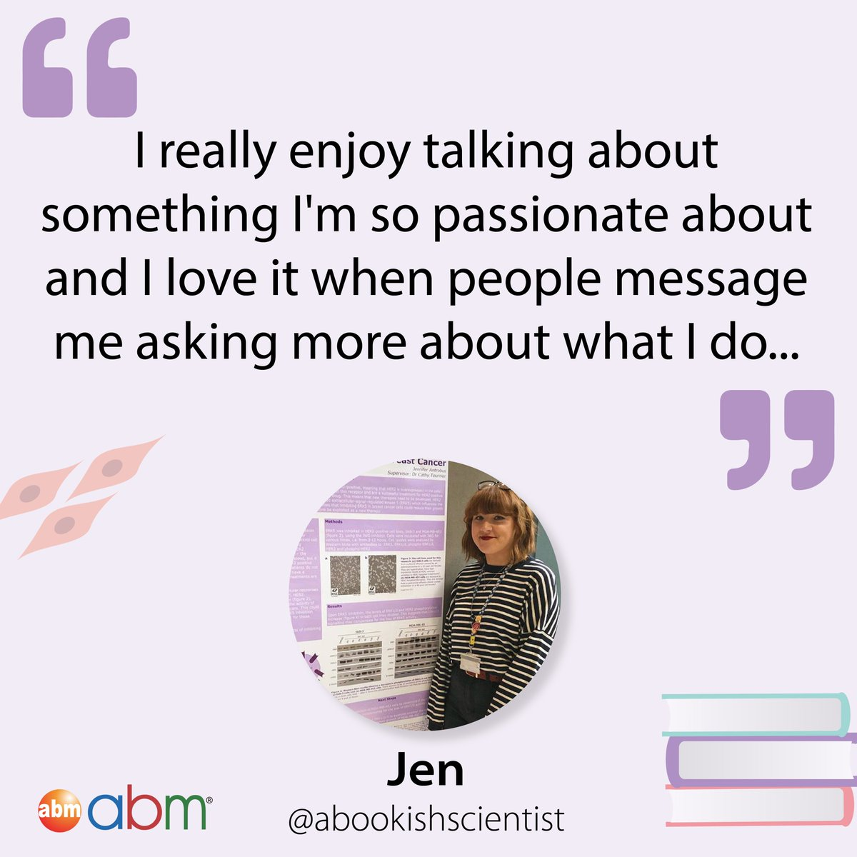 Jen is a PhD Student & Bookworm who rec'd these great reads: 📘 The Immortal Life of Henrietta Lacks 📗 The Dark Lady of DNA 📕 Sapiens 📙 Hidden Figures 🔖A Brief History of Everyone Who Ever Lived  Have you read them?  Full interview: https://t.co/OzDeLT9LQs  #SciComm #phdchat https://t.co/CK9tQQNUl8