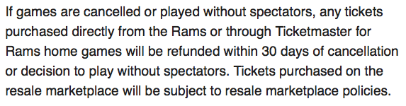The Rams have included the following disclaimer regarding ticket sales for home games at SoFi Stadium.