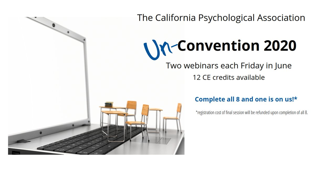 "It's our ""Un-Convention!"" 2 webinars every Fri in June--am & pm, for a total possible 12 ""live"" CE credits.  Bonus:  complete all 8 and get 1 free! W/ @Dustin_Weissman @DrShellyHarrell @DrShepp @drthema @DrDoreenS @CalifNeuroPsych (Lechuga) & more! https://t.co/oZQQ6c1Igo https://t.co/y3nQBTPeUv"