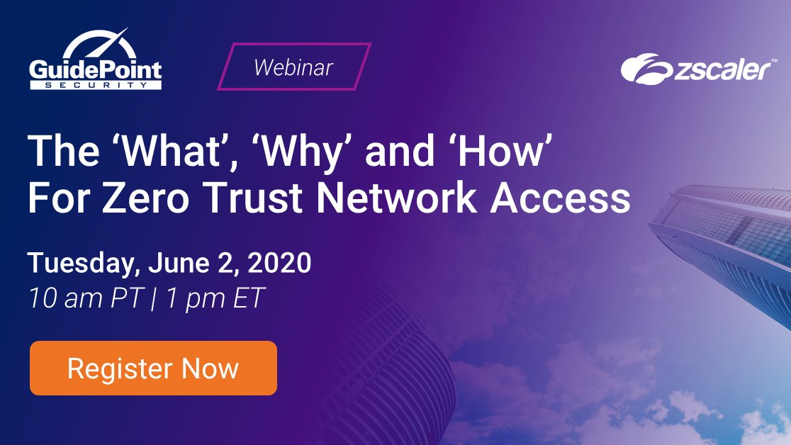 🗣️ PSA: It's time to change the way you grant external access to internal data and applications  ...and Zero Trust Network Access (#ZTNA) can help.  Register for this live webinar with @GuidePointSec and Zscaler to learn more: https://t.co/mValL6Qynd https://t.co/0xD7u29IqB