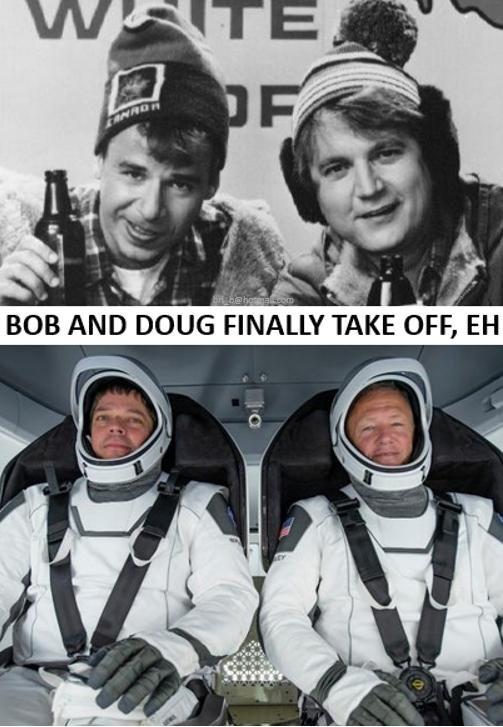 Bob & Doug blast off into space...  Good luck #EH #Hosers!pic.twitter.com/W8JwIeuw7e