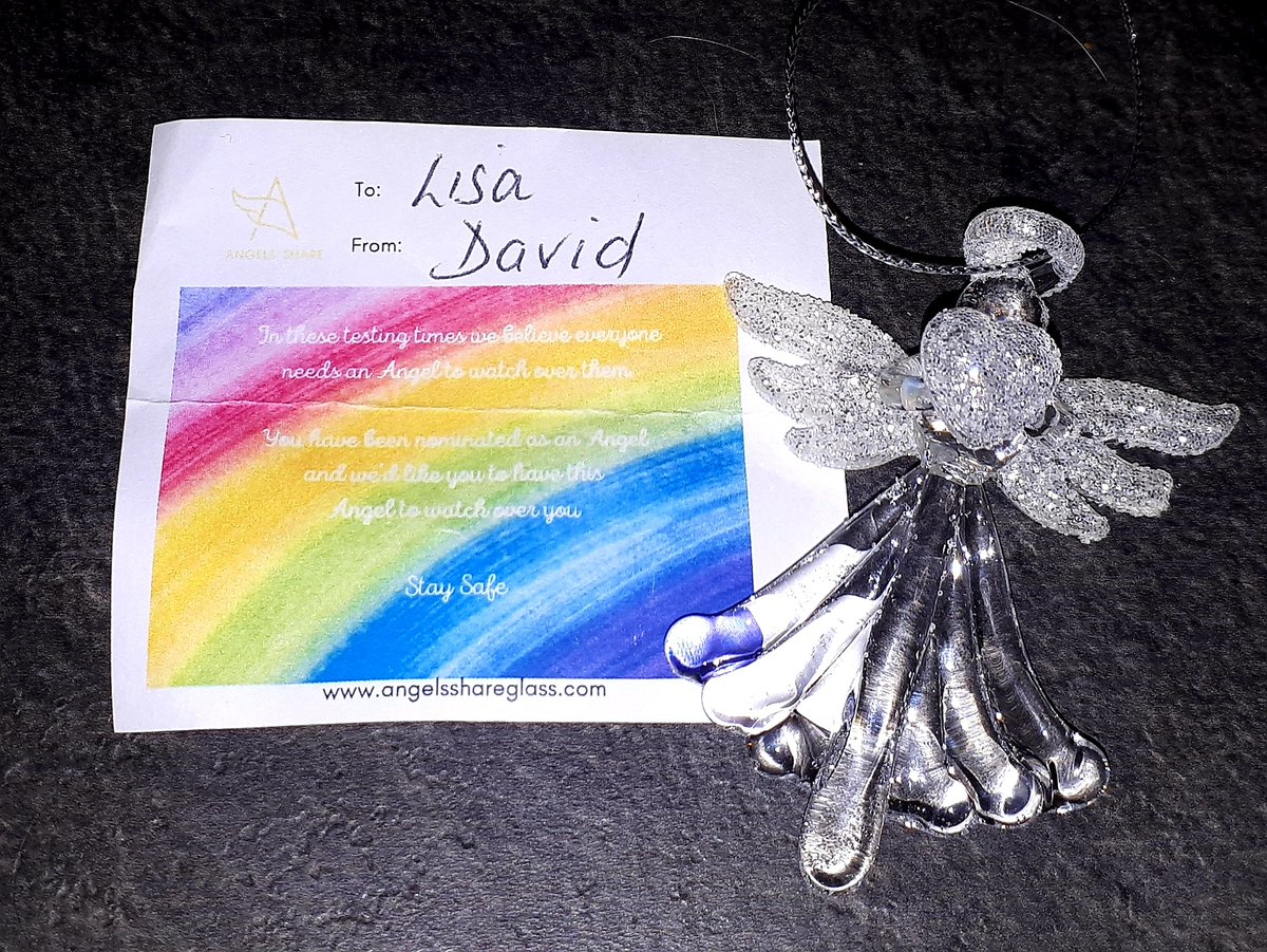 Thank you for the Angel @angelshareglass to my wife, she was delighted. Stay Safe  #StaySafe #Keyworker #MyAngel pic.twitter.com/W7HM4KPabq