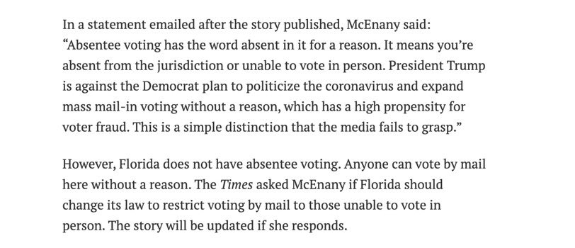 Florida does not have absentee voting. Everyone can vote by mail. This was addressed in the story she's responding to. Under Florida law, all registered voters are permitted to vote by mail. myfloridaelections.com/Voting-Electio… twitter.com/presssec/statu…