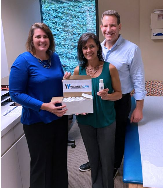 Werner Law donating hand sanitizer to keep patients and medical staff safe at local medical facilities.  #giveaway #handsanitizer #covid-19 #staysafe #helpingothers #corona #lawfirmcares #legalhelp #patientsafety #justice #firstrespondersafety #superlawyers #nurseweekpic.twitter.com/7u3remdiKj