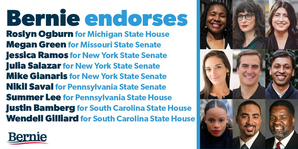 These endorsements join our previous slate of progressive candidates for state legislatures, whom we can count on to continue building our movement in the states. Support their campaigns here:  https:// secure.actblue.com/donate/bernie- state-legislative/?refcode=tw200527  … <br>http://pic.twitter.com/Eg3o09JWQp