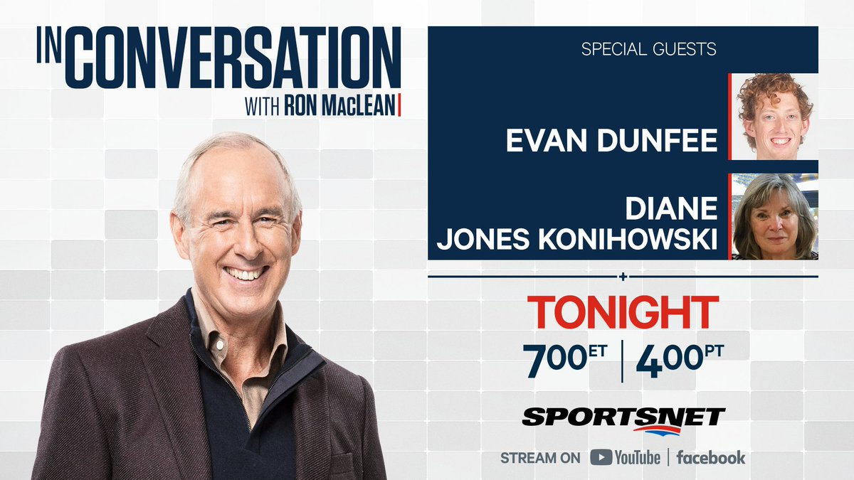 🚨 TONIGHT 🚨 Canadian Olympic race walker @EvanDunfee & former Canadian Olympic pentathlete and @sportshalls 2020/21 inductee Diane Jones Konihowski are #InConversation with @RonMacLeanHTH! Catch the full episode on Sportsnets YouTube and Facebook at 7pm ET.
