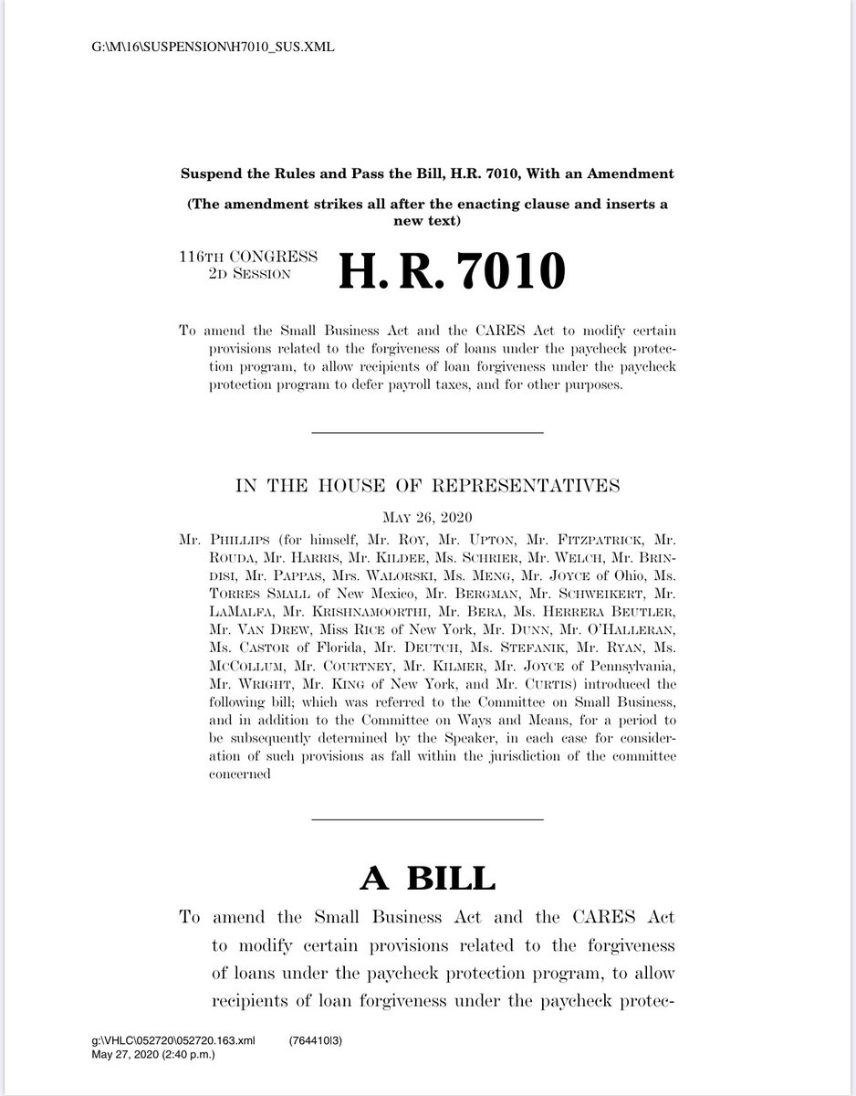 New version of the House PPP bill is here. It would ease loan forgiveness rules by setting a 60 percent minimum for payroll spending (down from 75) and give businesses 24 weeks to use the funds (up from eight) https://t.co/Q2Nf1ZRR2j