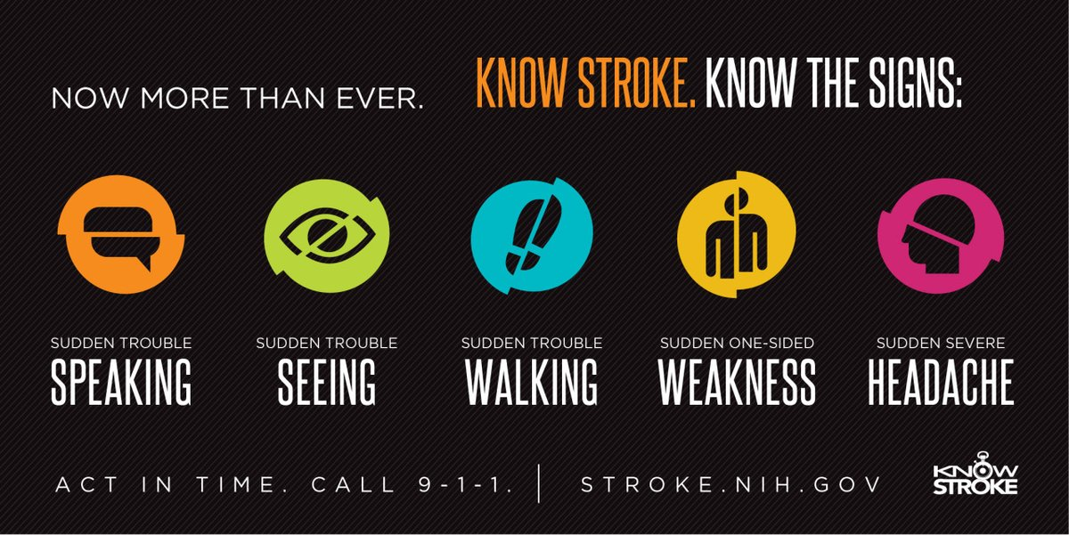 #Stroke is the fifth leading cause of death in the U.S. and causes more serious long-term disabilities than any other disease. Every minute counts, especially during the #COVID19 crisis. The best way to help is to recognize the symptoms and call 911. stroke.nih.gov