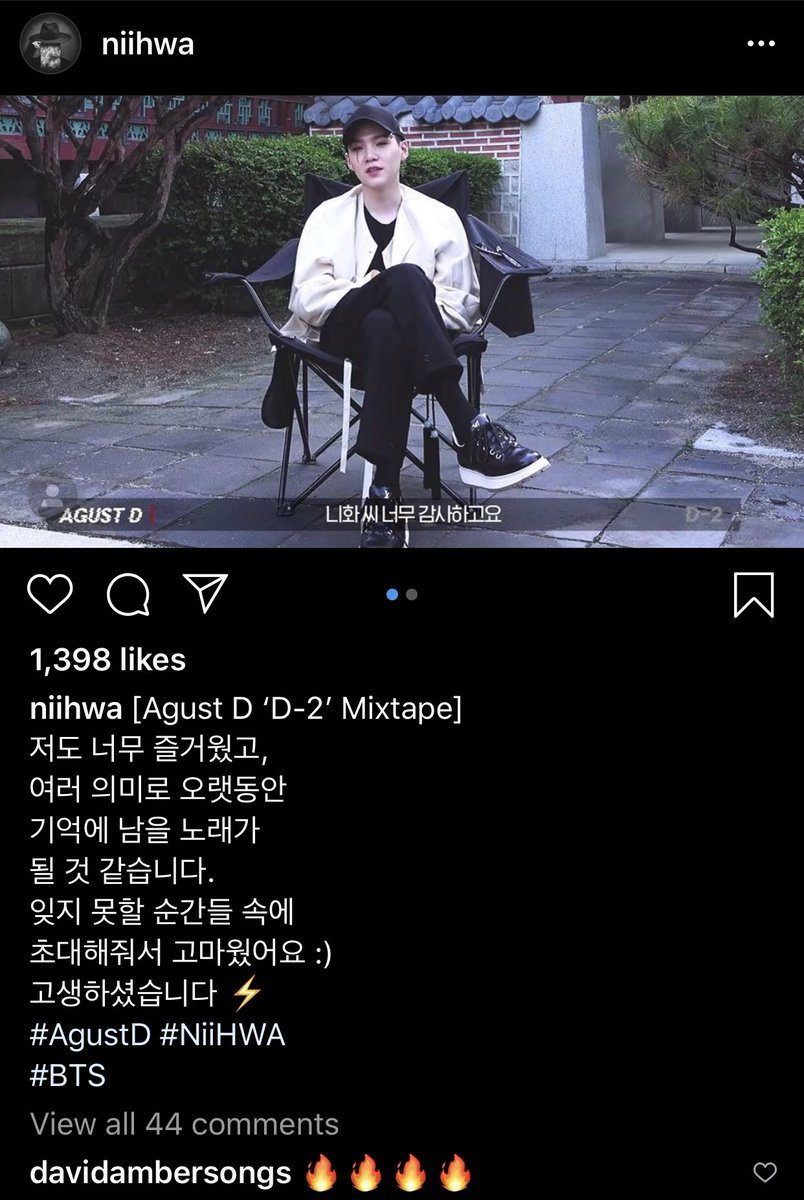 Niihwa's Instagram (worked on 28): I had so much fun, and this song will be remembered for a long time with various meanings. Thank you for inviting me in the midst of unforgettable moments :) You worked hard. #AgustD  @BTS_twt #BTS #방탄소년단pic.twitter.com/GgXX0vhf6j