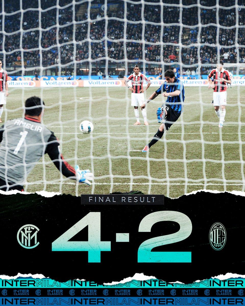 ⏹️   FINITA!!! Grande vittoria in un #DerbyMilano ricco di gol ed emozioni... è anche stavolta Milano è nerazzurra!!! ⚫️🔵⚫️🔵 🇦🇷 #Milito ⚽️⚽️⚽️ 🇧🇷 #Maicon ⚽️ #InterMilan 4⃣-2⃣ #InterClassics #FORZAINTER