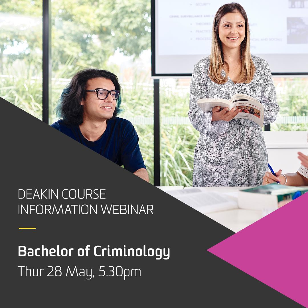 """Deakin University - Arts & Ed on Twitter: """"#Deakin Criminology course  information webinar is on today https://t.co/LWoNoWhSKG via @DeakinCrim… """""""