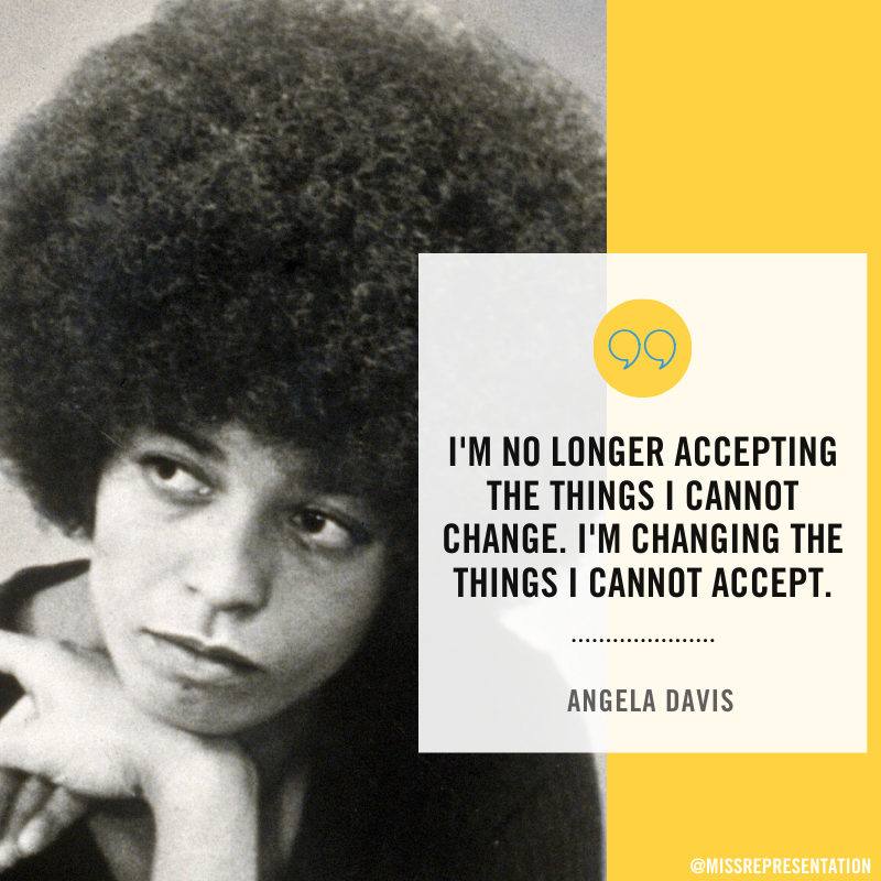 "Here's some incredibly relevant #WednesdayWisdom from feminist and Civil Rights activist Angela Davis for your timeline...  ""I'm no longer accepting the things I cannot change. I'm changing the things I cannot accept."" <br>http://pic.twitter.com/TAPHtgDiXi"