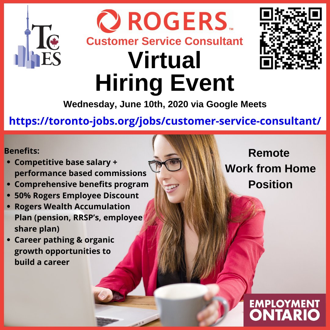 Tces Toronto Community Employment Services On Twitter Rogers Is Hiring For 20 Customer Service Consultants Apply At Https T Co Bmjgclmdg6 Toronto Employment Torontojobs Tces Workfromhome Remotework Https T Co 3jgk4v7toe