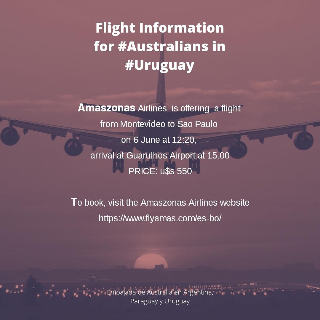 Important flight update for #Australians in #Uruguay #Covid_19 @Smartravellerpic.twitter.com/xiNBuBg5G2