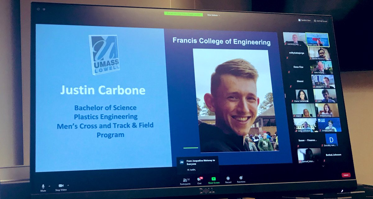 Major shut out to Justin Carbone of @RiverHawkXCTF on his well deserved Chancellors Scholar Athlete award! Justin is 1 of only 34 students in a graduating class of 4K+ to be honored tonight! Kudos to Chancellor Moloney & @UMassLowell for celebrating excellence! #RiverHawkProud