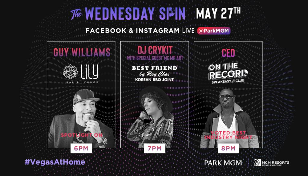 Guy Williams represents for Lily on tonight's The Wednesday Spin! Tune into @ParkMGM's Facebook and Instagram LIVE at 6 p.m. PT.  Lineup 👇 6 p.m. PT Guy Williams with Lily 7 p.m. PT DJ Crykit & guest MC MP ART with Best Friend 8 p.m. PT CEO with On The Record https://t.co/dwqTHCjZMP