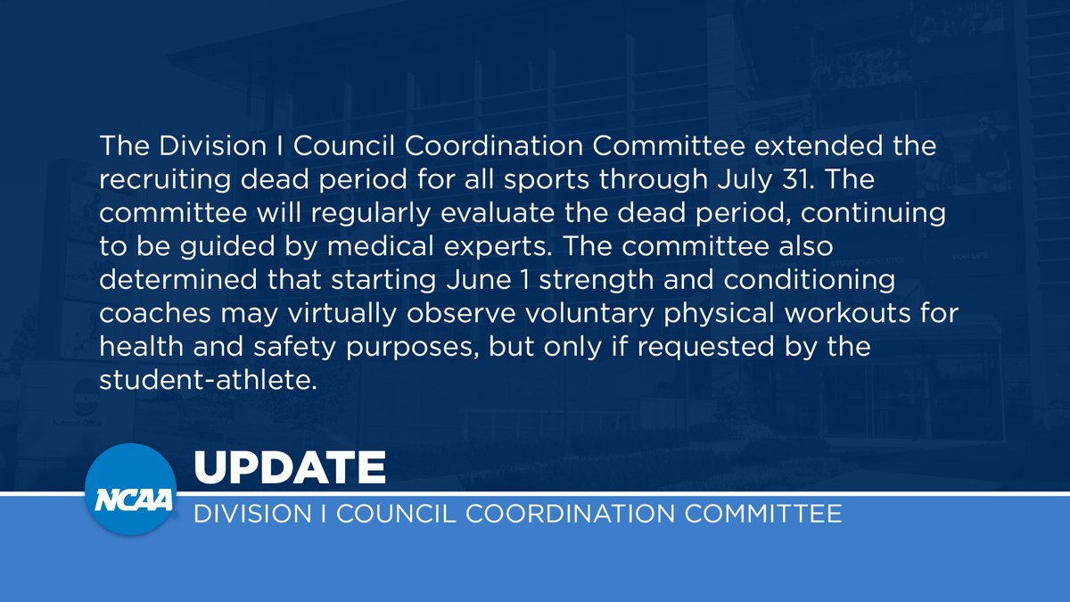 Division I Council Coordination Committee extends recruiting dead period:  http:// on.ncaa.com/32ljl     <br>http://pic.twitter.com/0cRcTbrxQp