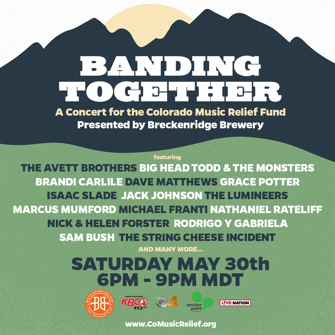 Who is excited about this lineup!? We are thrilled about the #BandingTogether concert on Saturday to support @COMusicRelief!   Donate and the 411 ➡️ https://t.co/H4ecA0GiBk  #BreckBrew  @973KBCO https://t.co/pV2cKpzbpF
