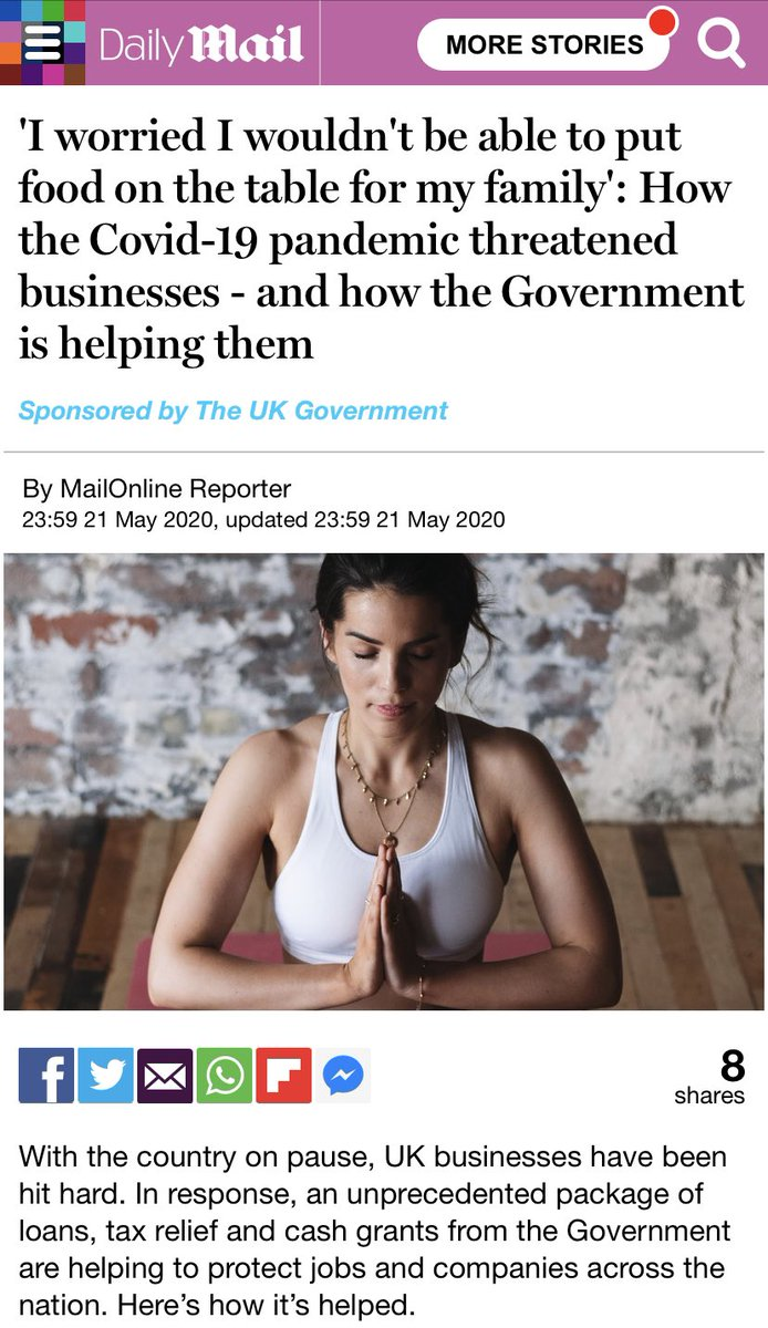 This is astonishing. Hot on heels of Newsnight comes this. The government is now literally using our money to *pay* the Daily Mail to publish pro-government propaganda pieces about how well it is handling COVID-19.  'Sponsored by The UK Government' <br>http://pic.twitter.com/q6aN1JsVgI