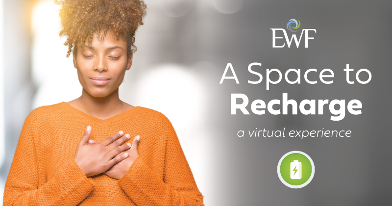 """Add some #selfcare into your day w/ EWF virtual experience """"A Space to Recharge."""" Join us tomorrow @ 9:00 am and 12:00 pm ET *Sessions on the same day will have the same content. This program is open to the public!  #freewebinar #womenintech #womeninbusinesspic.twitter.com/UHSvcMDzh0"""