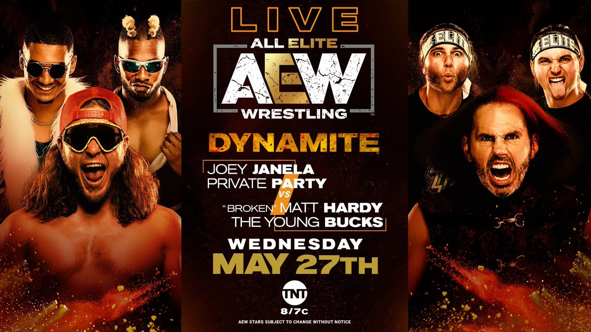 GIMME AN OL' RE-TWEET if you're ready & excited to tune into #AEWDynamite  at 8pm.. For the first time EVAH, I team up with The #BucksOfYouth & it shall be positively ORGASMIC! <br>http://pic.twitter.com/pZXbKtmCmf
