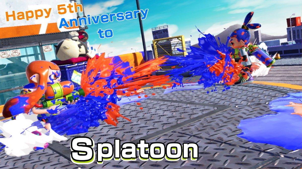 It's May 28th in Japan! Happy 5th anniversary to Splatoon!!! #Splatoon #スプラトゥーン5周年 #SmashBros