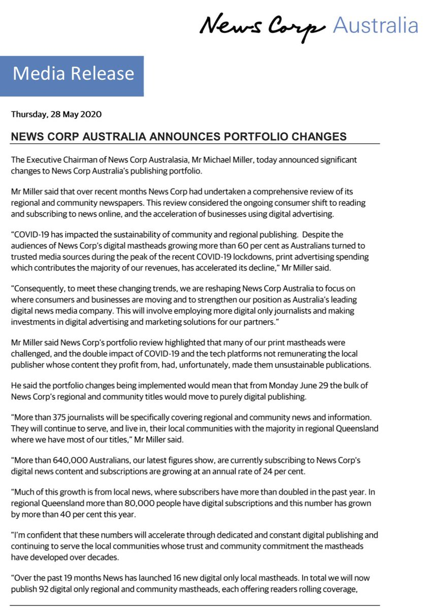 News Corp announcing a massive shakeup of its business, axing physical printing of a large number of its community newspapers and moving to digital only production @abcnews