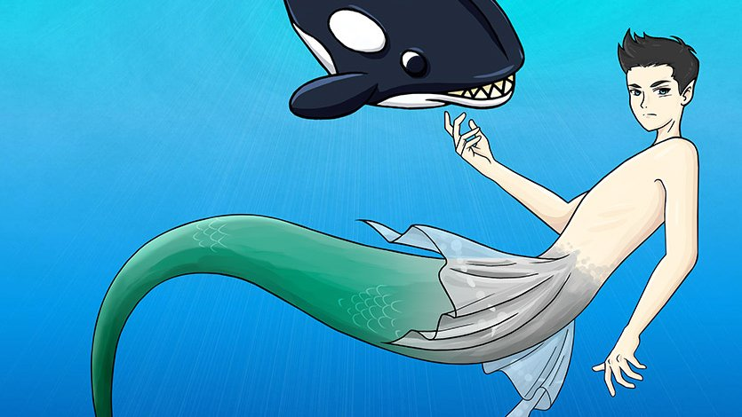If someone's going to have a pet orca, that would be Scott, cause he rolls that way.  Find more about this fearless merboy in Underneath, A Merfolk Tale.    #mermay #mermay2020 #mermaid #merfolk