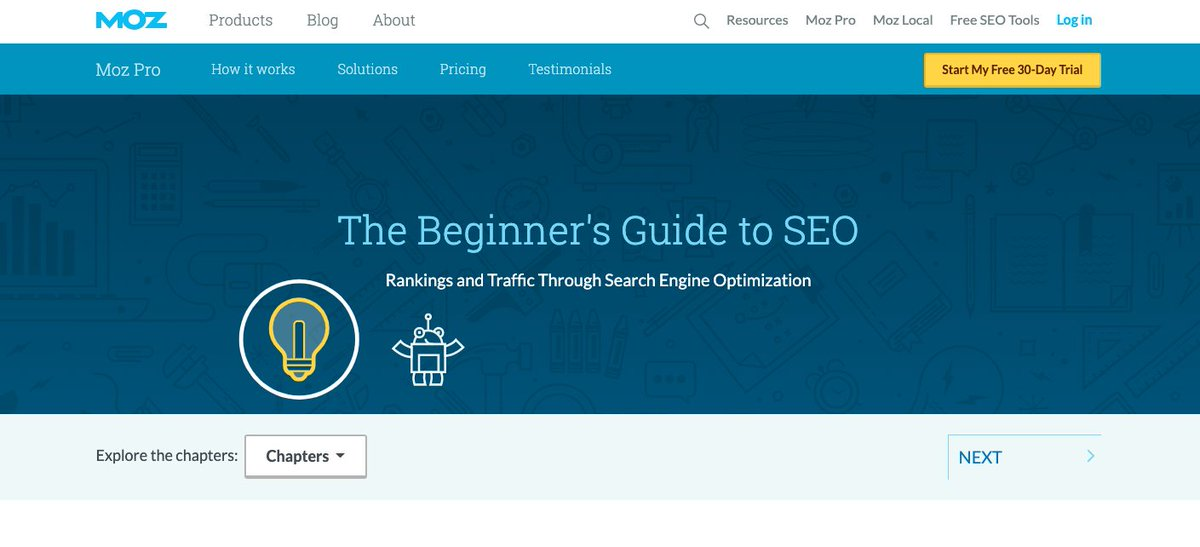 If you want to learn more about SEO (search engine optimization), here's the best place to start.   MOZ is like a one-stop-center for SEO. They even offer some of Free SEO Tools.    https:// moz.com/beginners-guid e-to-seo   … <br>http://pic.twitter.com/ApgyKLbPTs